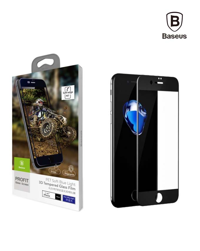 Baseus 0.23mm PET Soft 3D Tempered Glass Film for iPhone 8 Black (SGAPIPH8N-PE01)