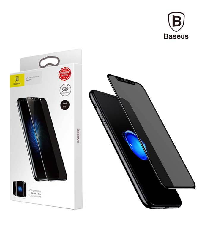 Baseus Anti-peeping Soft PET Tempered Glass Film for iPhone X - Black (SGAPIPHX-TG01)