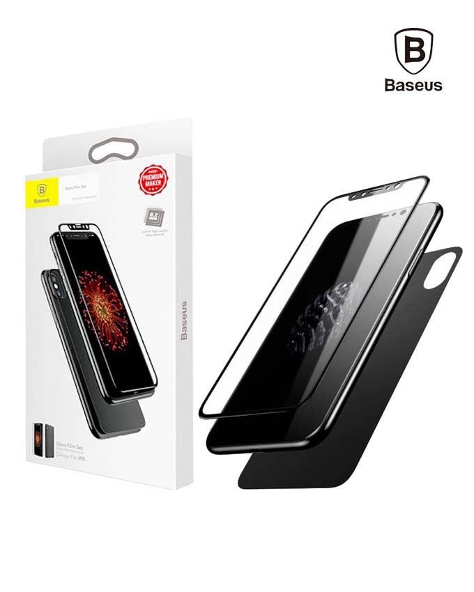 Baseus Glass Film Set Front + Back 0.23mm - iPhone X - Black (SGAPIPHX-TZ01)