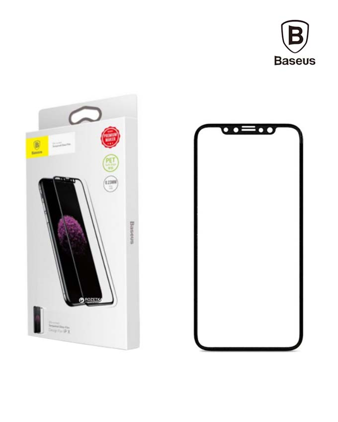 Baseus PET Soft 3D Tempered Glass Film for iPhone X - Black (SGAPIPHX-BPE01)