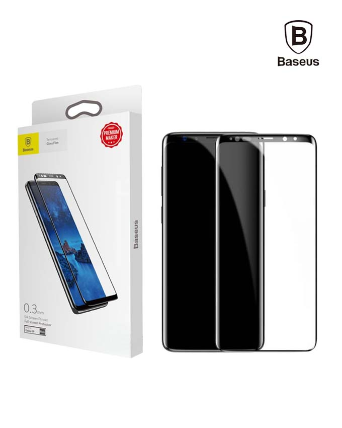 Baseus Tempered Glass 0.3mm All-screen Arc-surface For Galaxy S9 Black (SGSAS9-TM01)